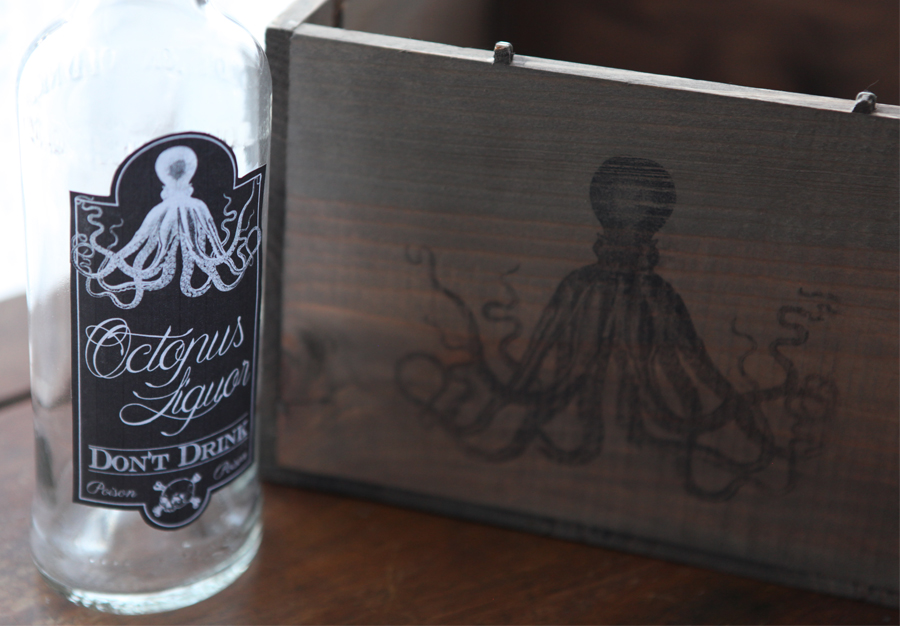 Don't mess with the rabbit - Octopus liquor bottle 1